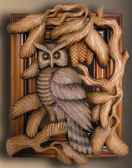 wood carving art bird owl