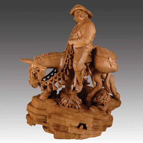 wood carving art cowboy