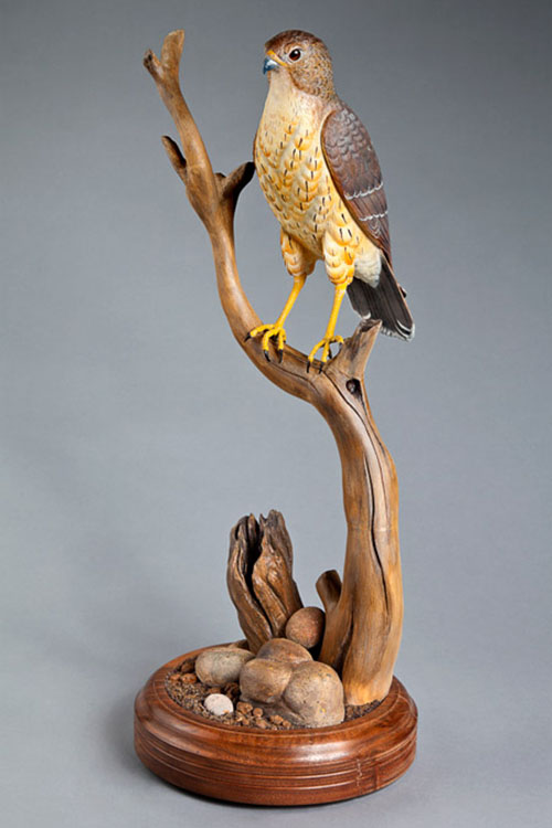 wood carving art work eagle