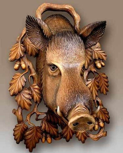wood carving art works pig