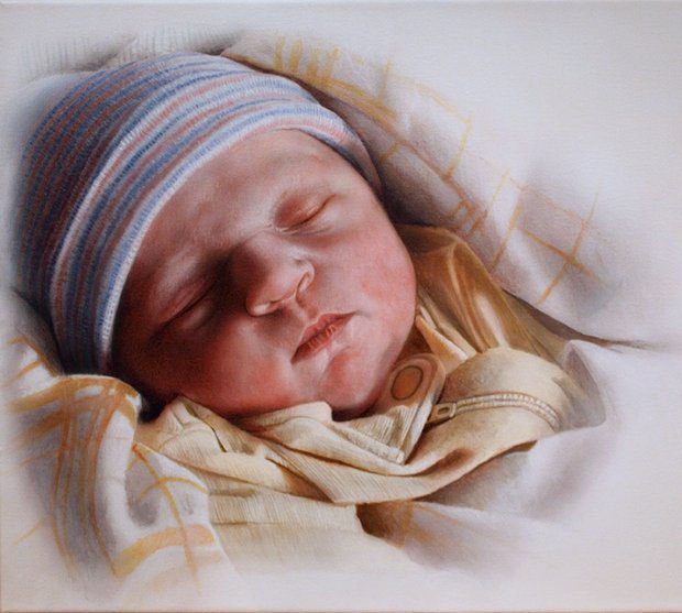 baby acrylic painting by ian