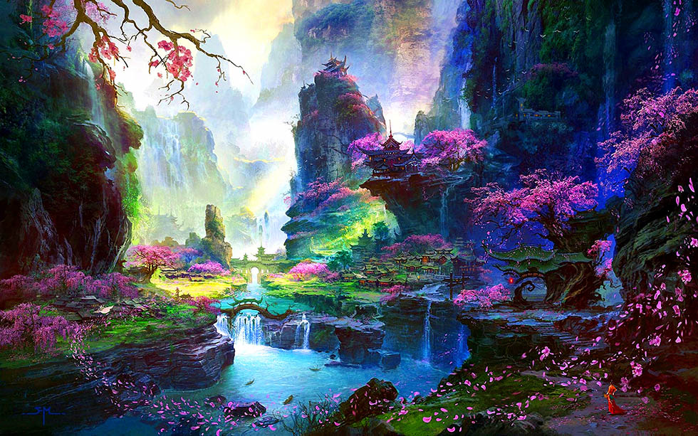 colorful landscape fantasy art