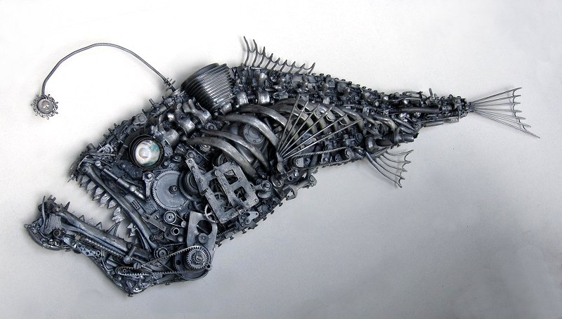 fish assembled sculptures by jud turner