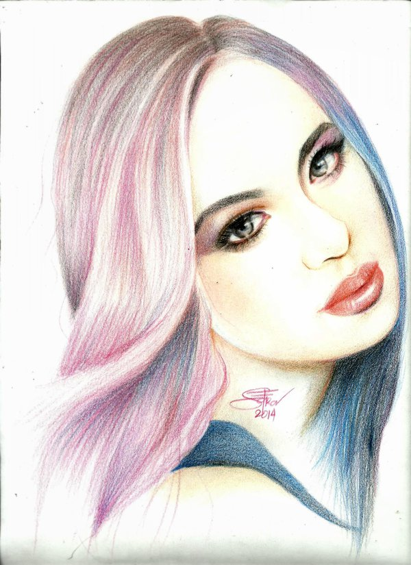 girl color pencil