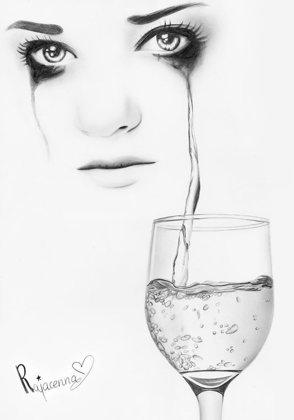 glass pencil drawings