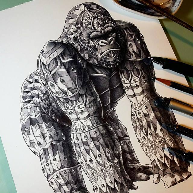 pen drawing gorilla