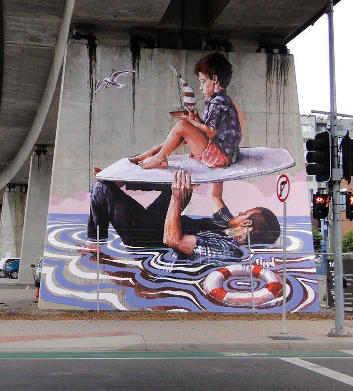 man and boy street art
