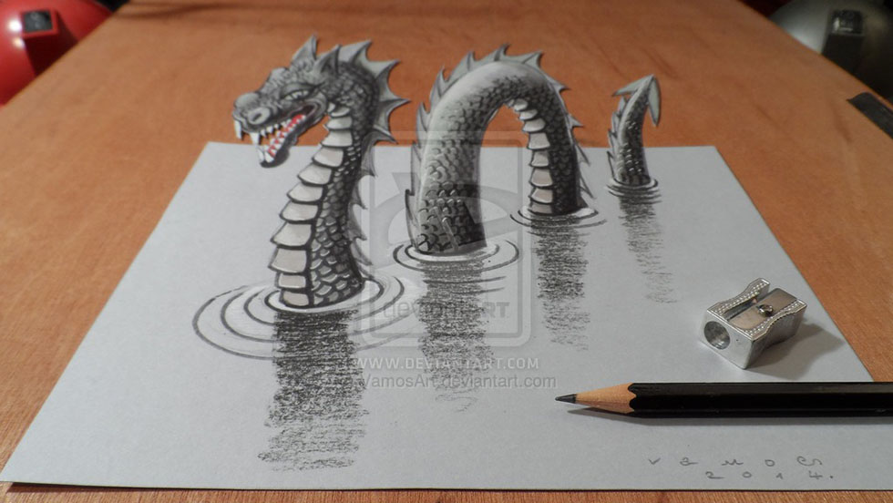 monster 3d drawings by vamosart