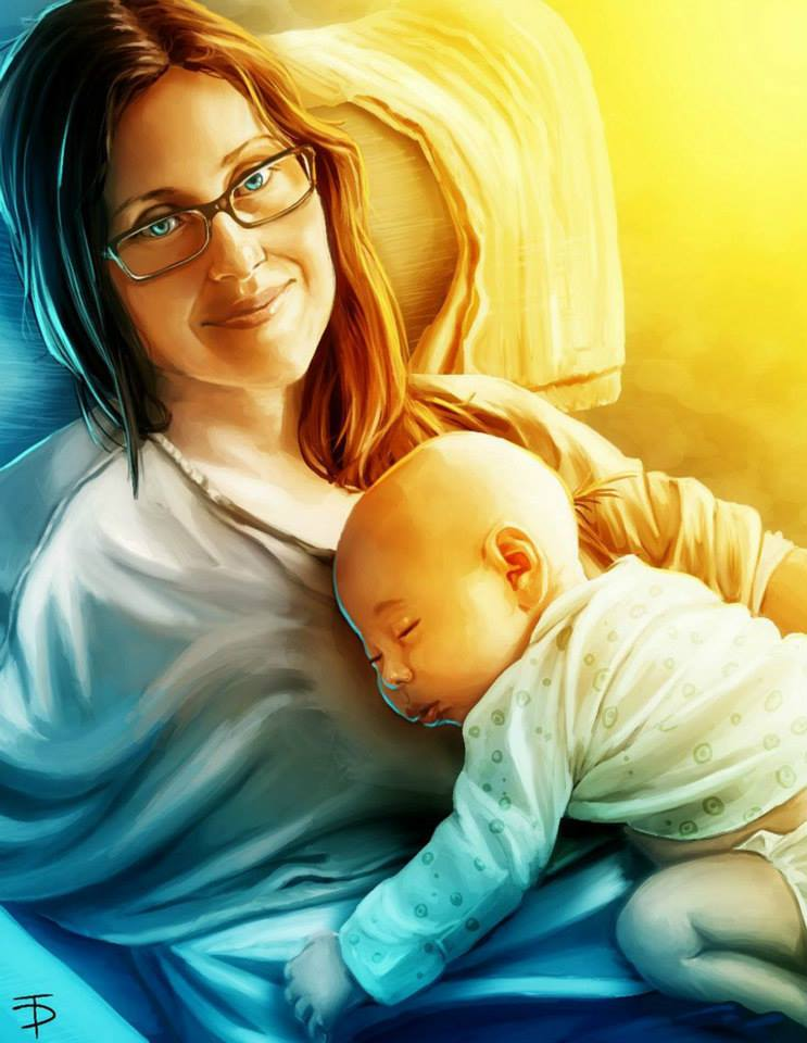 mother and baby digital art