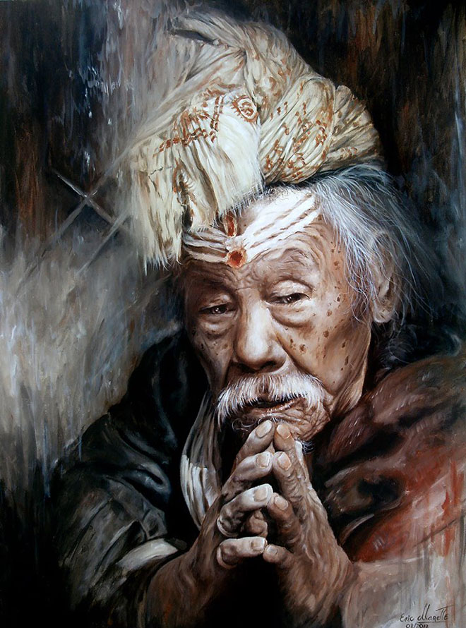 old man acrylic painting