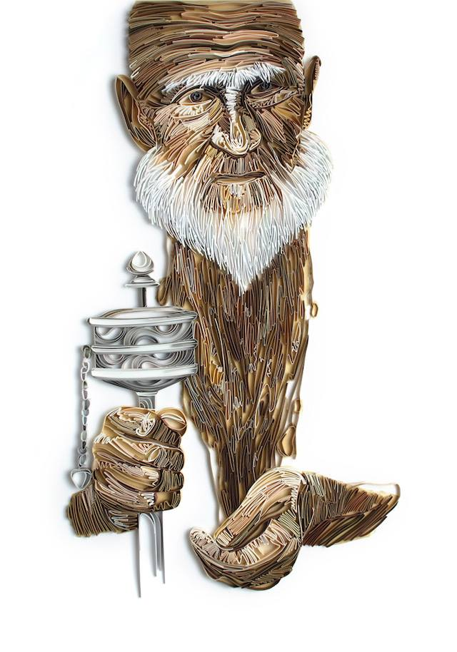 old man paper illustration by yulia