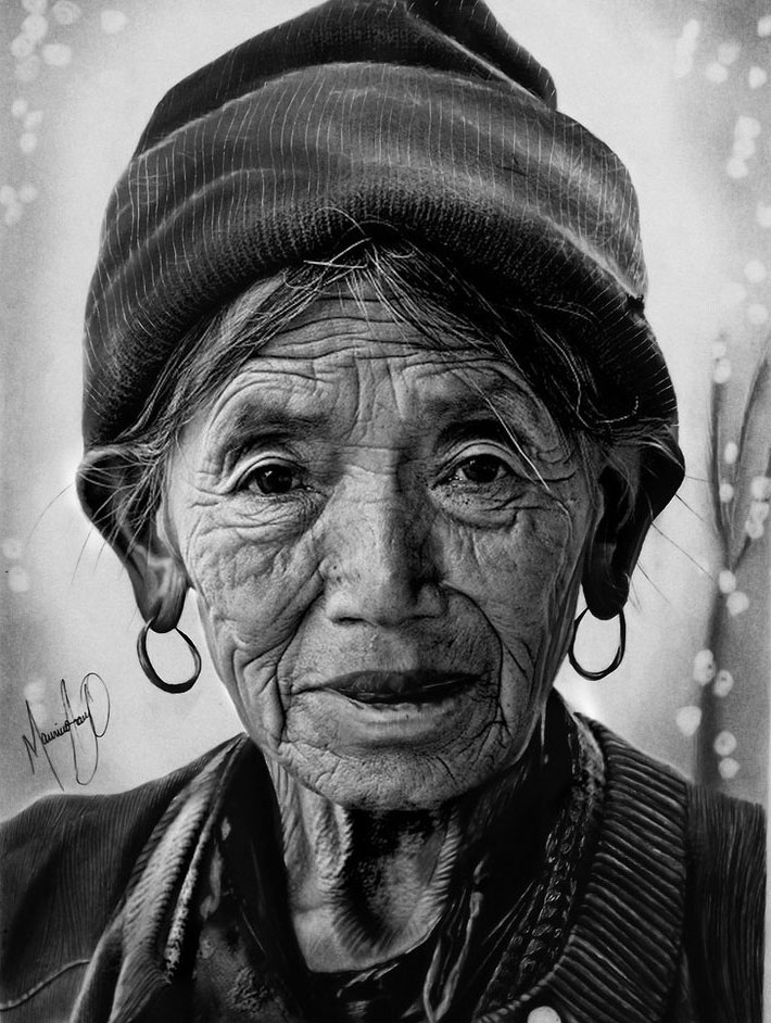 old woman realistic drawings by mauriciofortunato