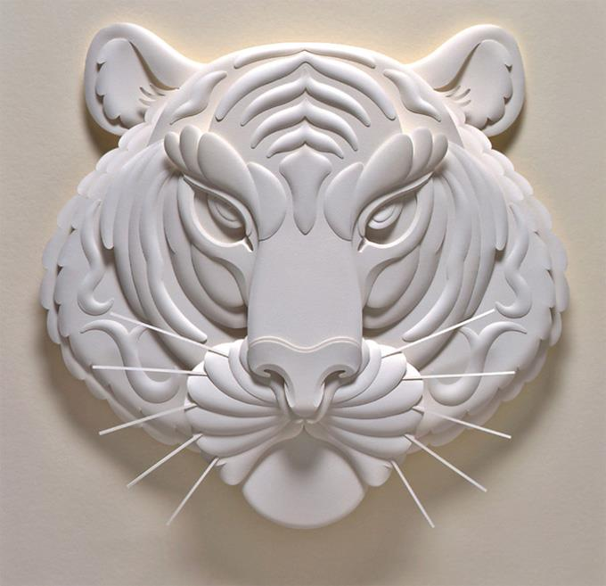 tiger paper sculpture