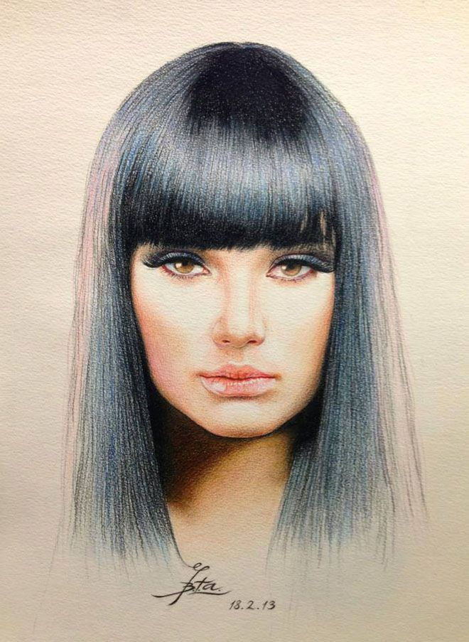 woman color pencil drawings