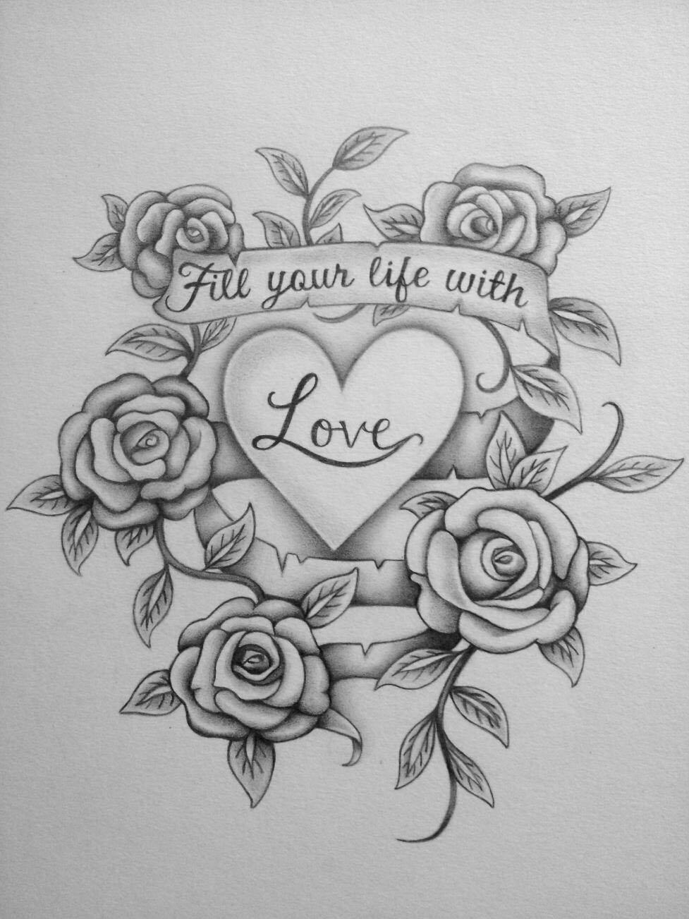 love flower drawings -  1