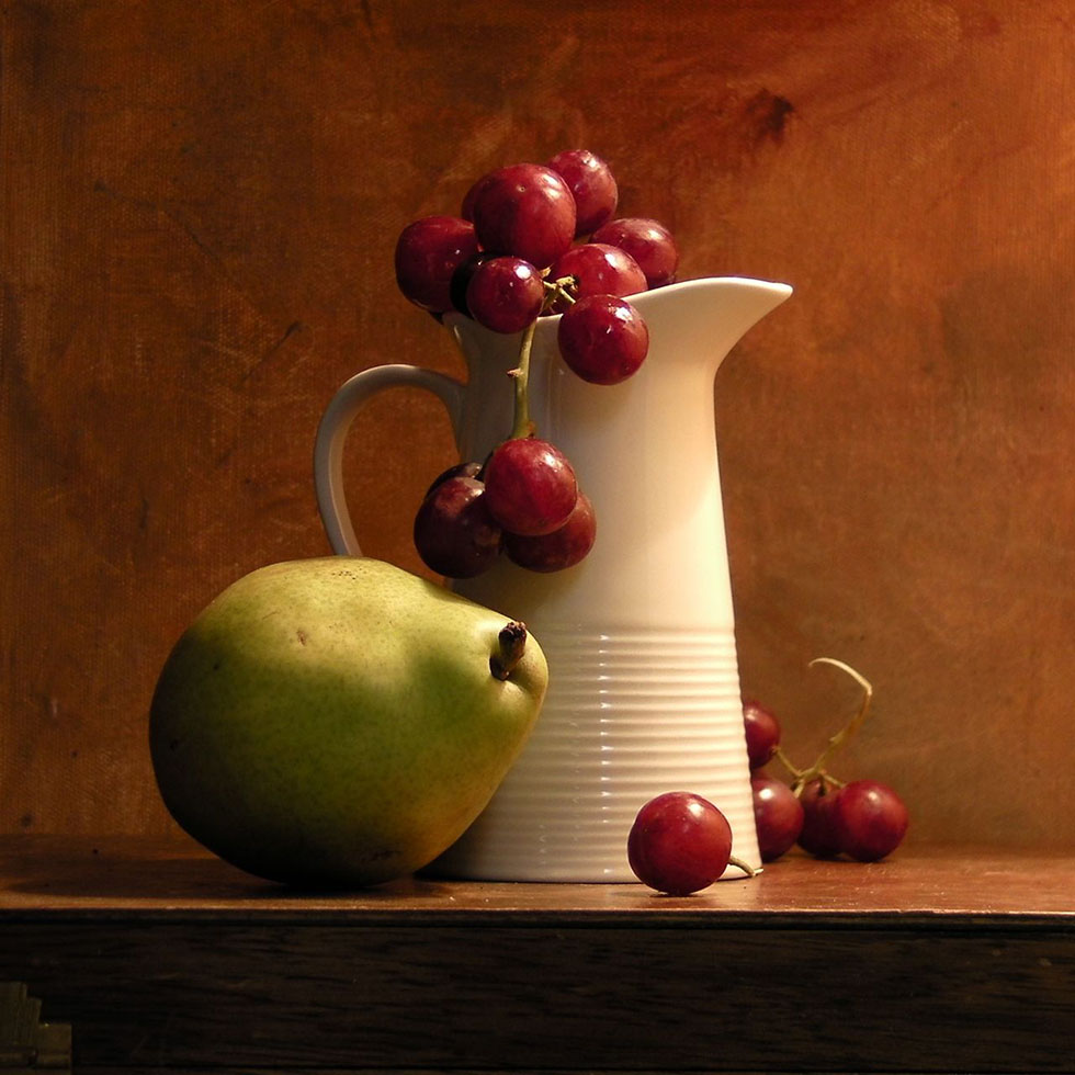 10 kiwi grapes still life painting