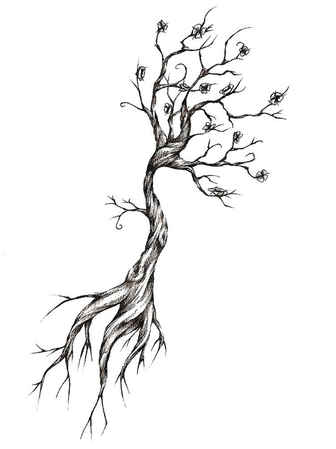 10 tree drawing tattoo