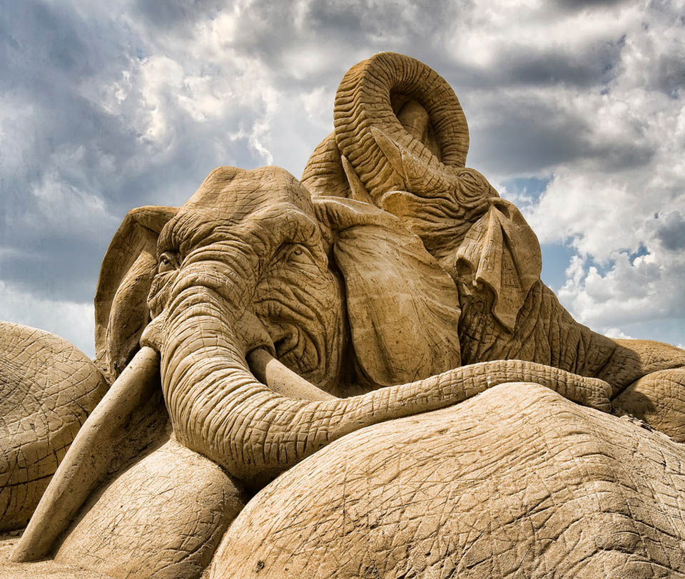 11 elephant sand sculptures