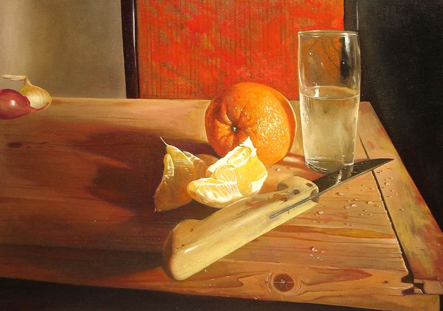 orange still life painting -  13