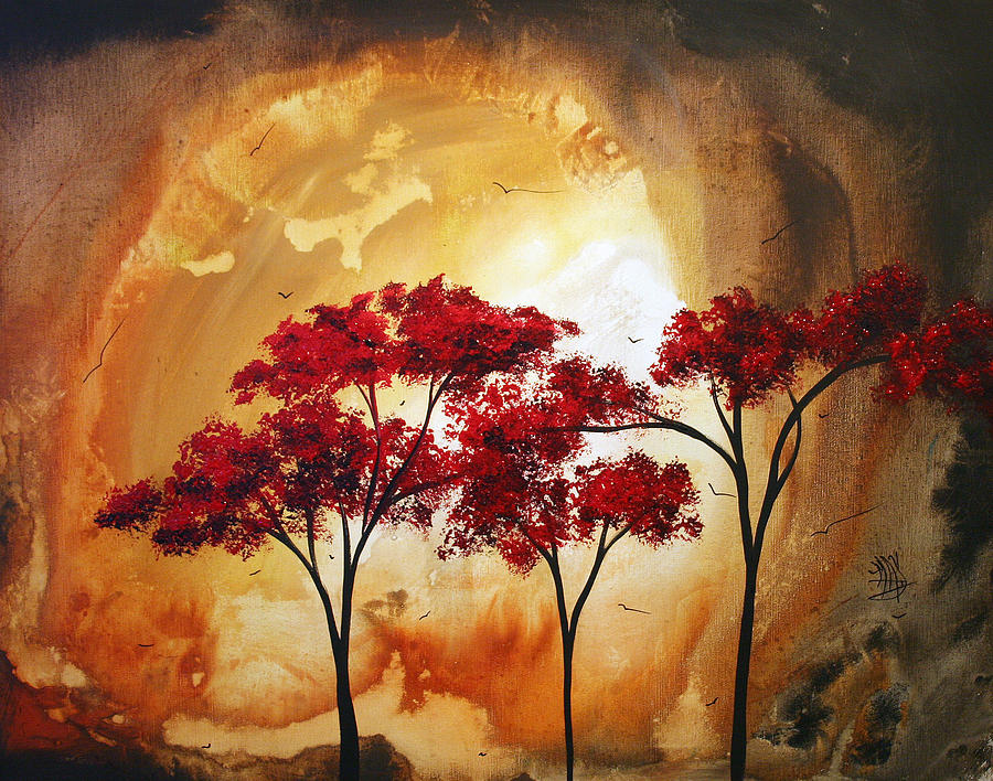 13 red tree painting by madart megan