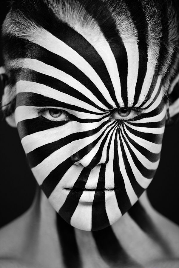 14 black white face paintings