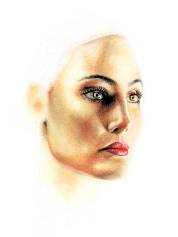 14 face color pencil drawing