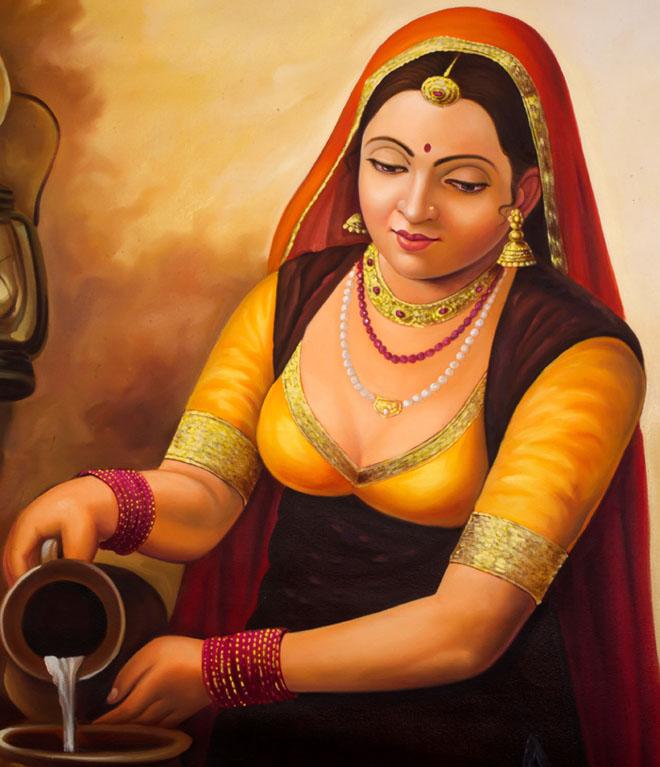 milk woman indian paintings -  14