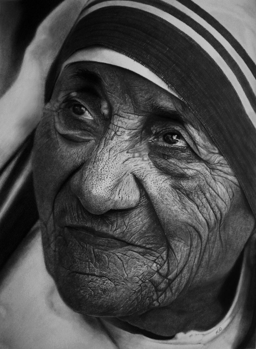 14 mother terasa pencil drawings