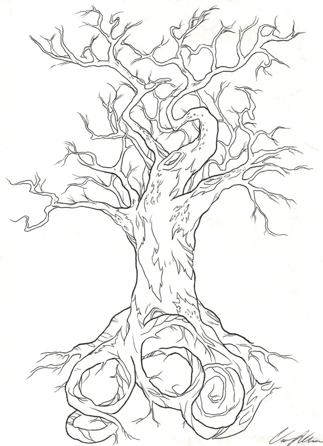 14 tree drawing tattoo