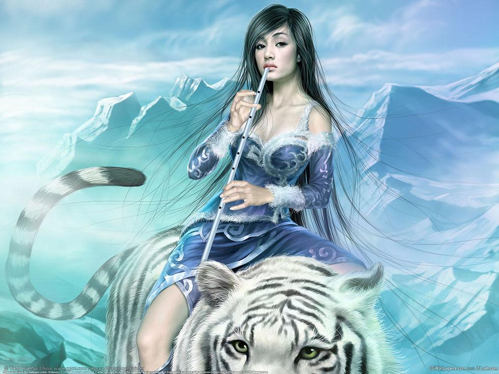 15 flute girl fantasy art