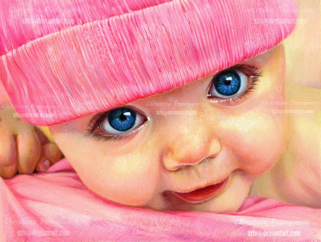 16 baby color pencil drawing