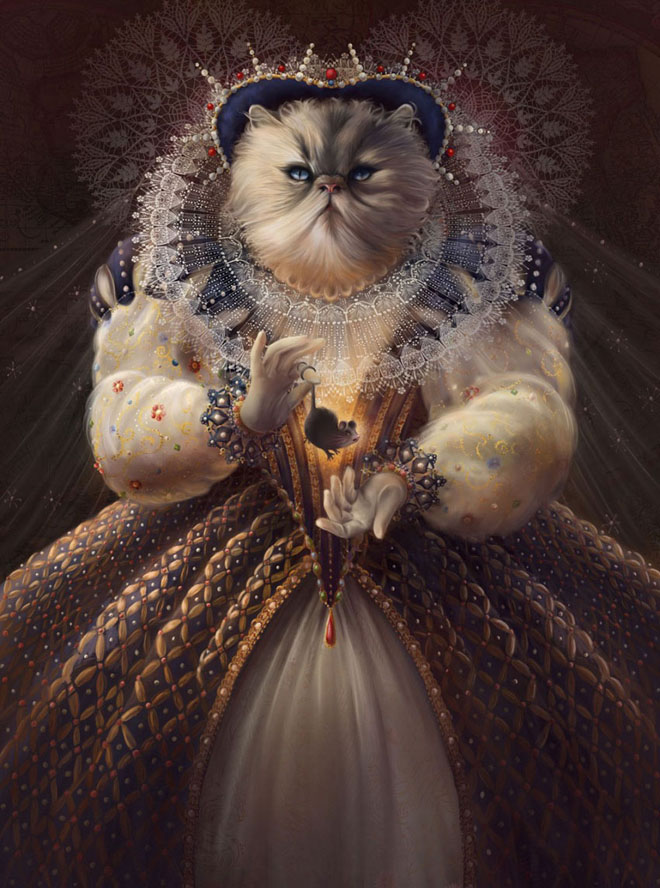 16 cat queen funny paintings