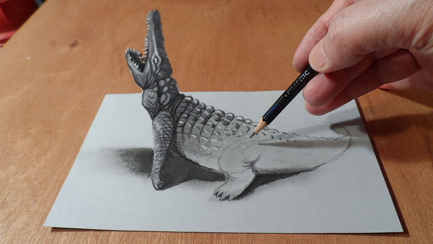 16 crocadile 3d drawings