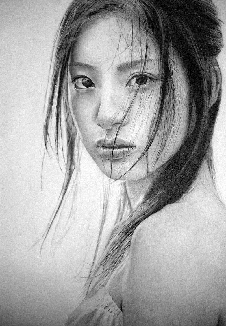 16 karakalem kadn face drawings
