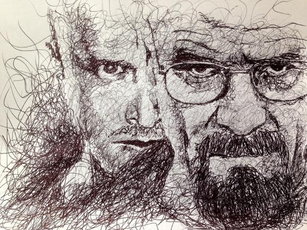 16 men scribbles