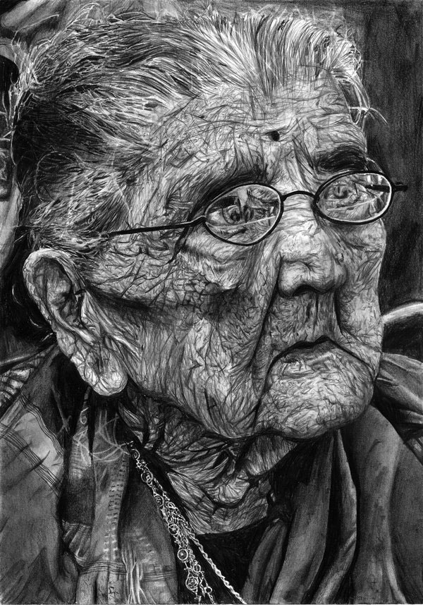 16 old woman pencil drawings