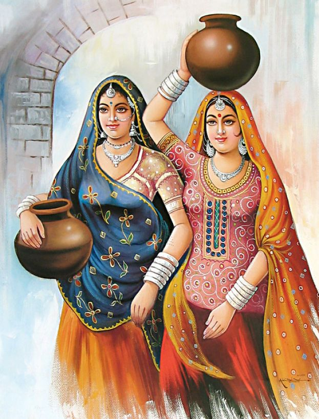 16 pot women indian paintings