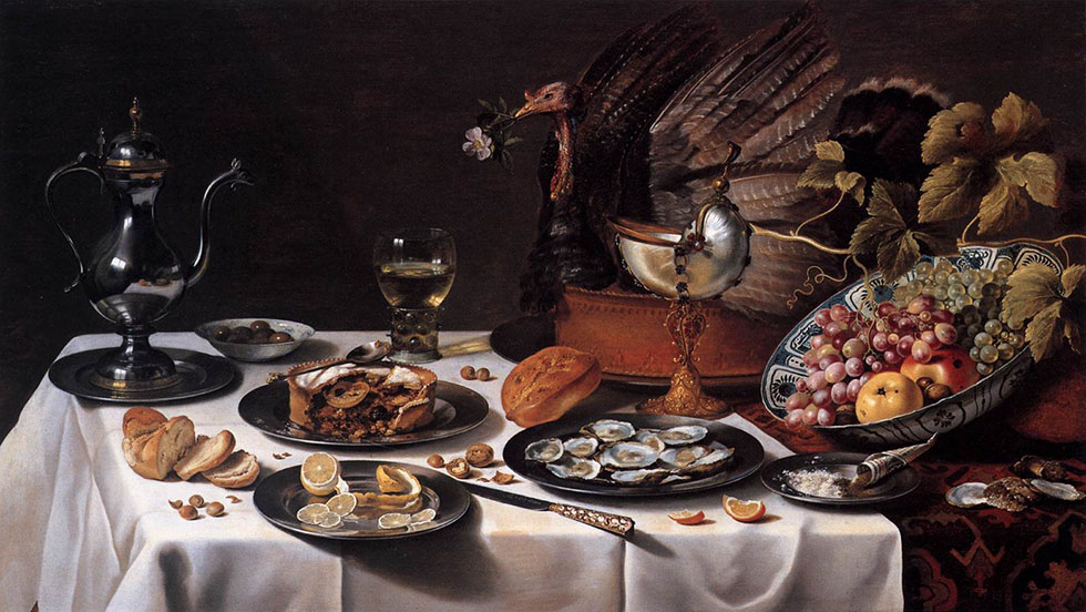 still life painting by claesz turkey -  16