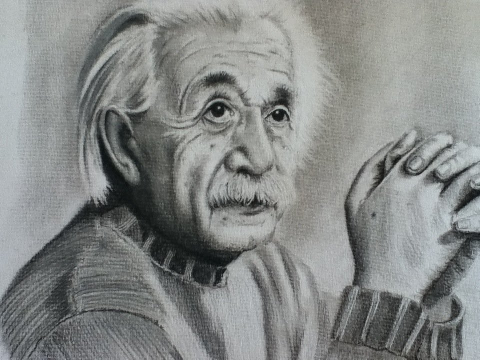 17 einstein charcoal drawings