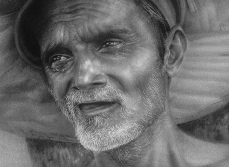 old man charcoal drawings -  19
