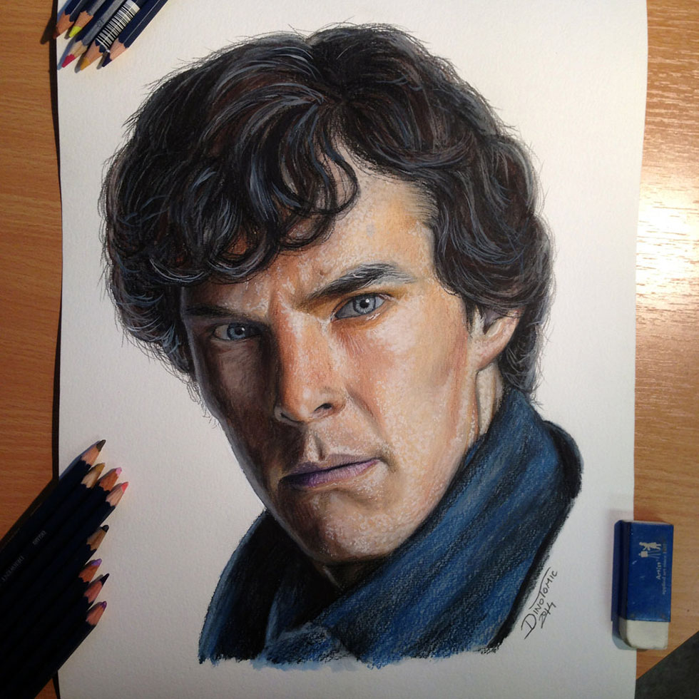 19 sherlock color pencil drawing by atomiccircus