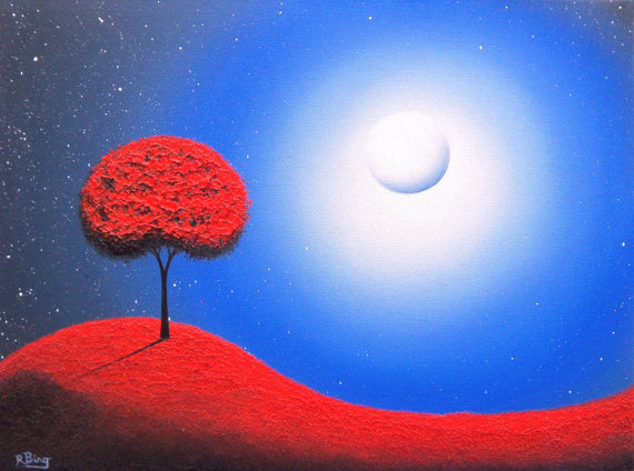 2 red tree paintings