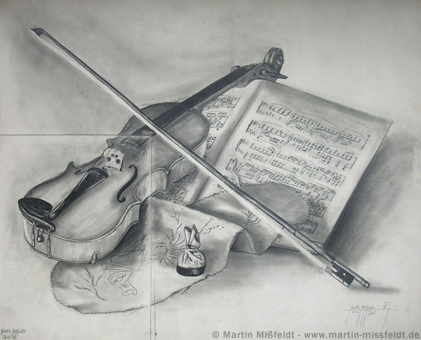 2 violin still life drawings