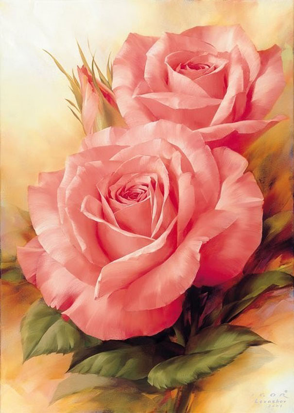pink rose flower painting -  20