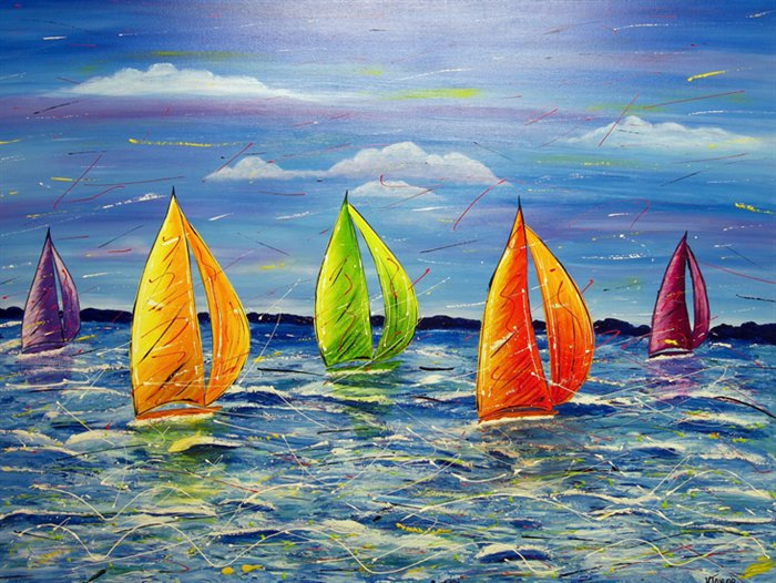 21 boat colorful paintings