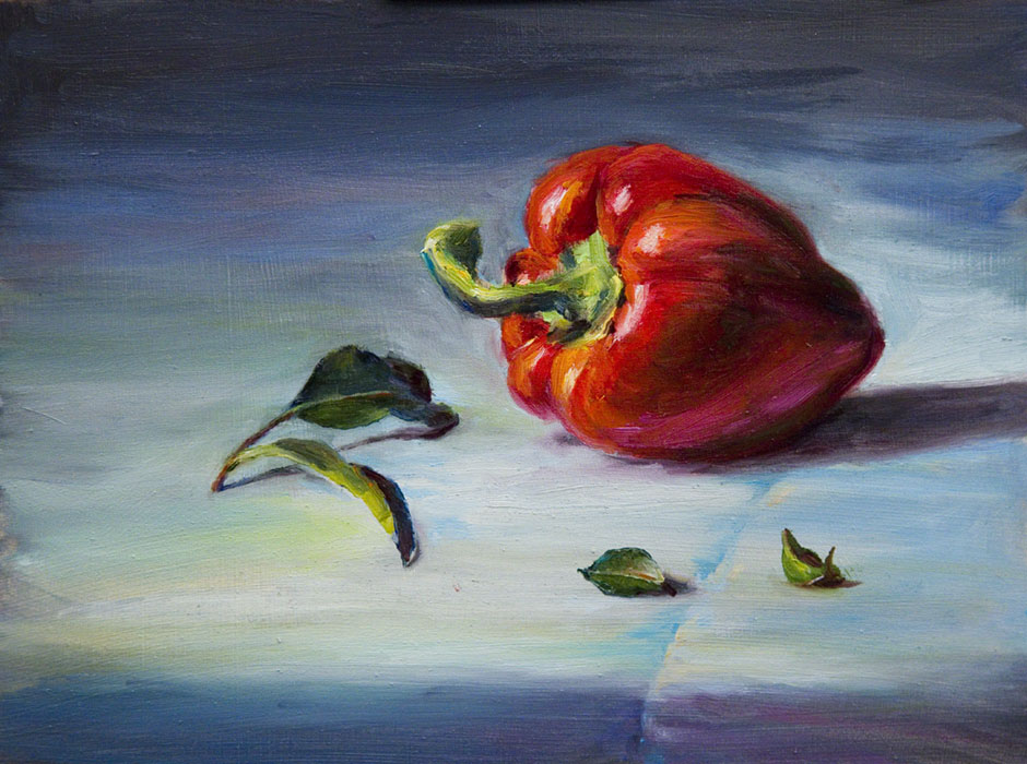 22 red pepper pastel painting