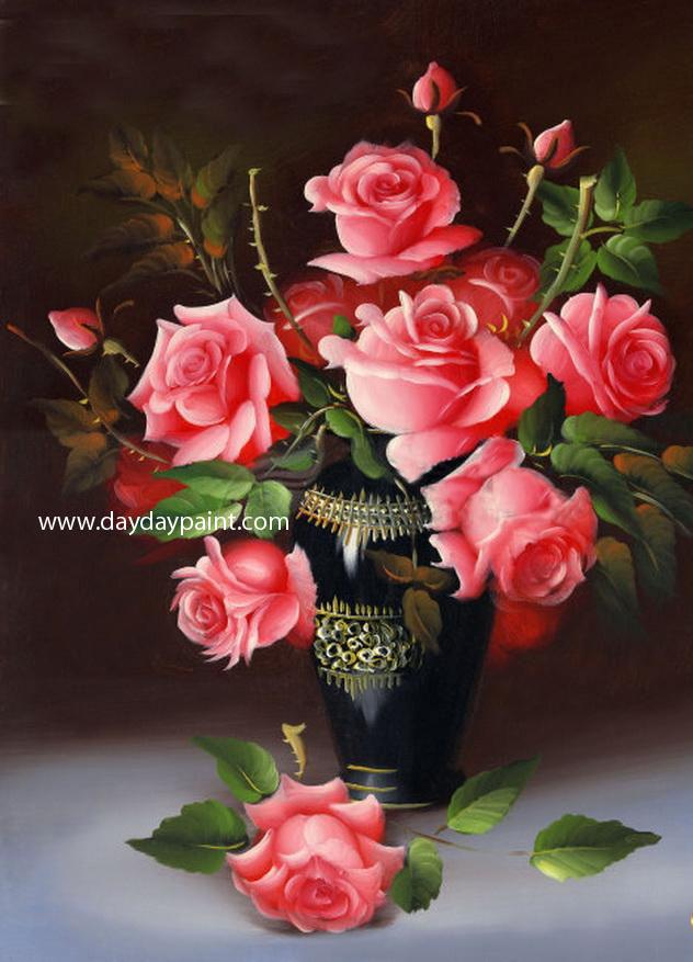 27 rose flower vase paintings