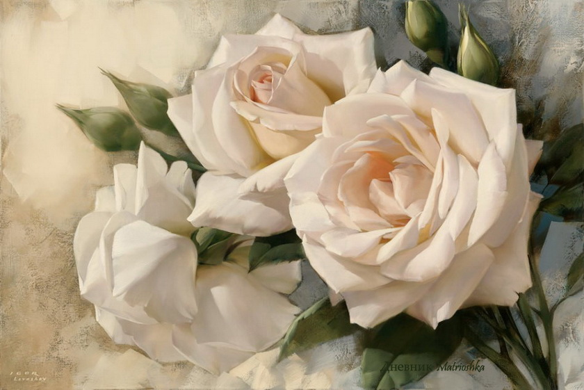 29 white rose flower painting