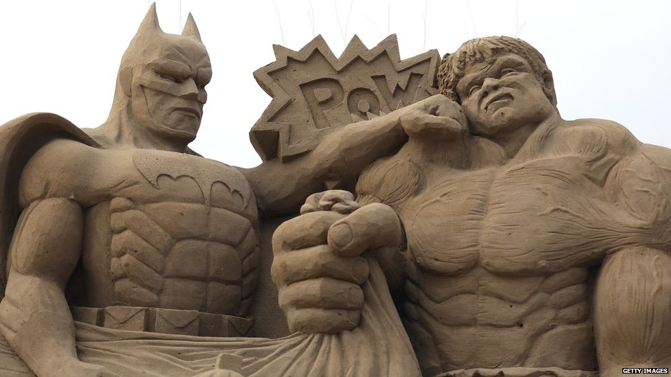 3 batman sand sculptures