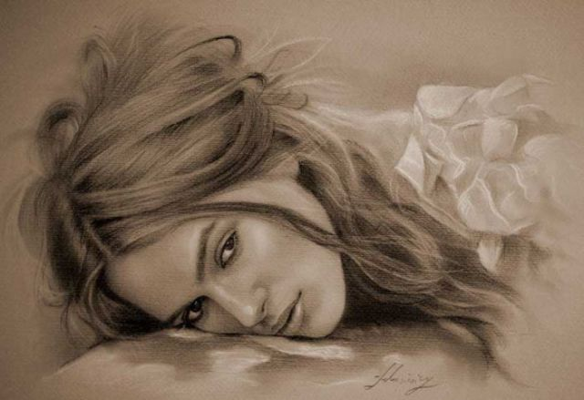 4 beautiful woman pencil drawings